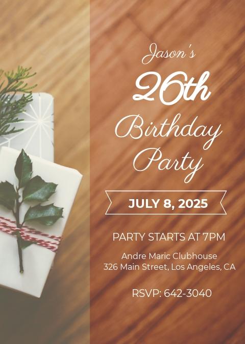 Free 26th Birthday Party Invitation Template.jpe