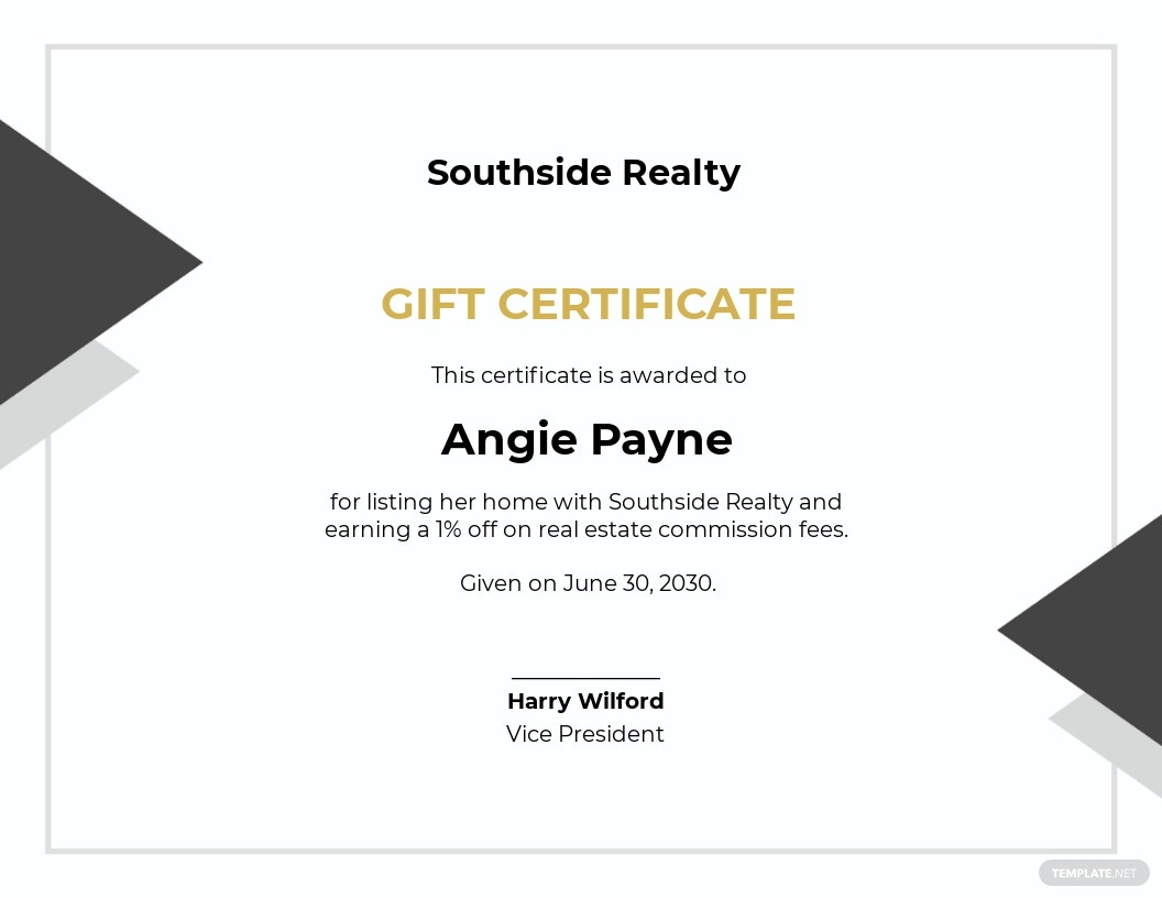 Real Estate Agents Gift Certificate Template