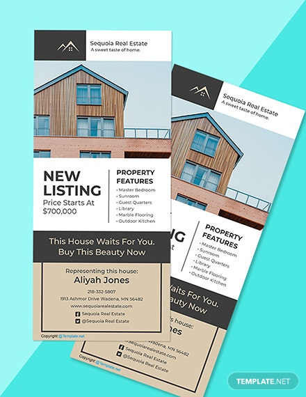 Free Elegant Real Estate Rack Card Template Format