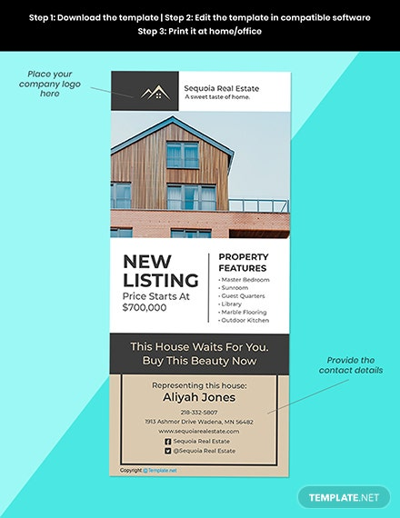 Free Elegant Real Estate Rack Card Template Sample