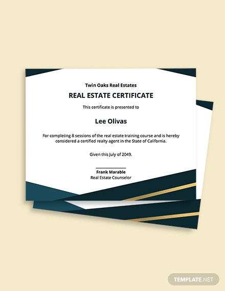 Free Modern Real Estate Certificate Template