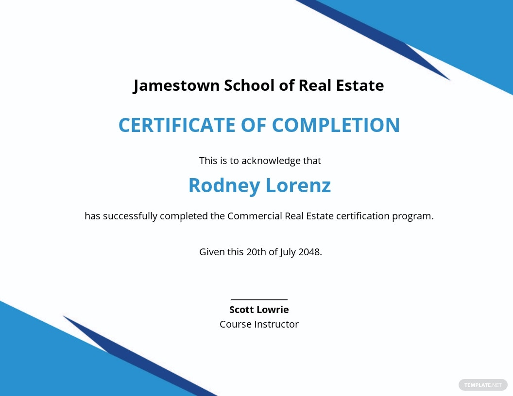 Commercial Real Estate Certificate Template