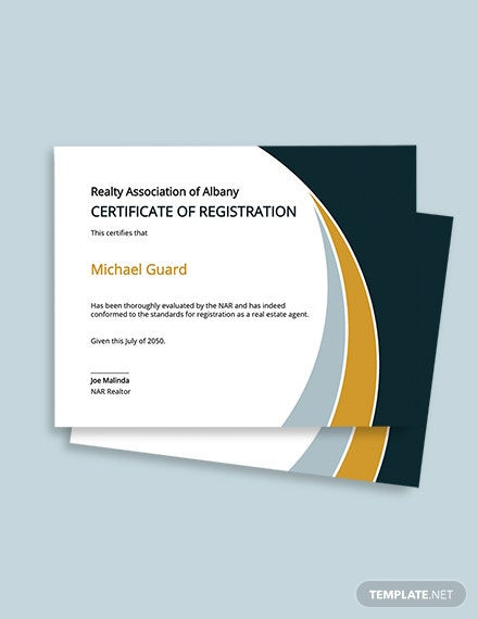 Real Estate Certificate of Registration Template