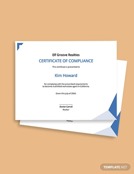 Real Estate Compliance Certificate Template