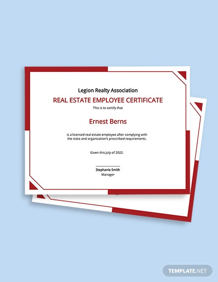 Real Estate Employee Certificate Template