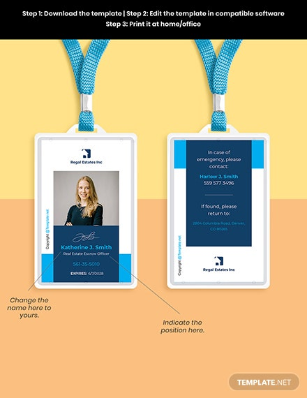 Free Modern Real Estate ID Card Template Format