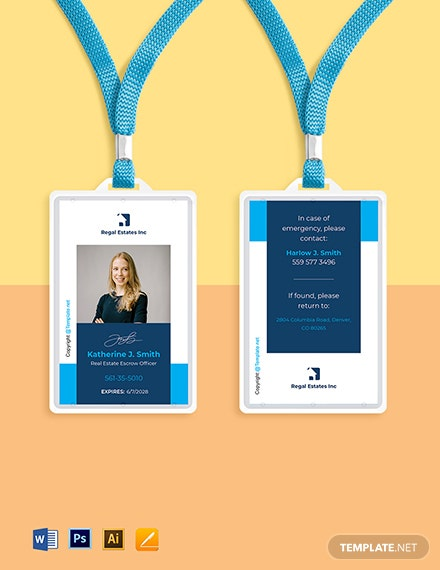 Free Modern Real Estate ID Card Template