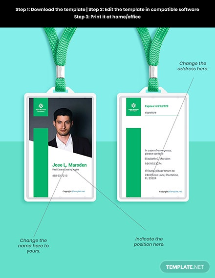 Free Elegant Real Estate ID Card Template Format