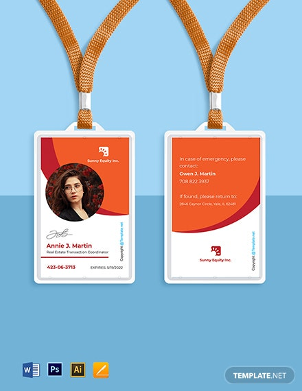 Free Sample Real Estate ID Card Template