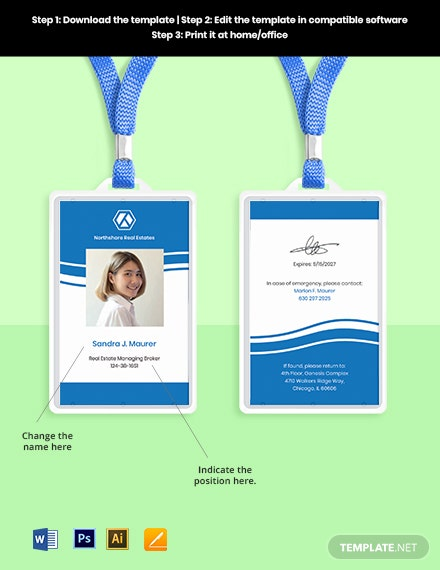Real Estate Employee ID Card Sample