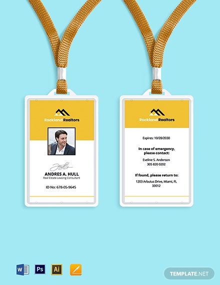 Real Estate Worker ID Card Template