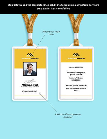 Real Estate WorkerID Card editable