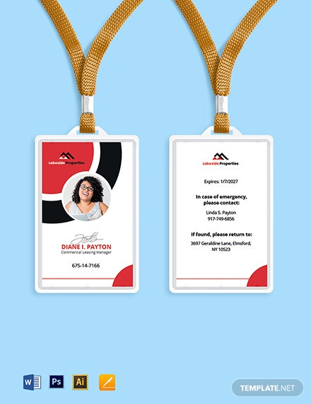 Real Estate Office ID Card Template