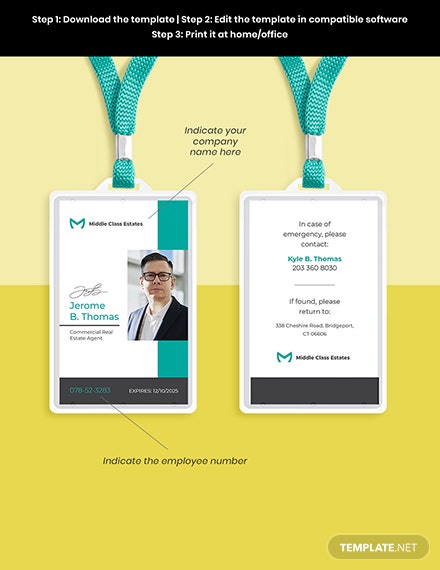 Real Estate Agency ID Card Template Format