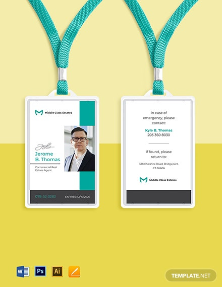 Real Estate Agency ID Card Template