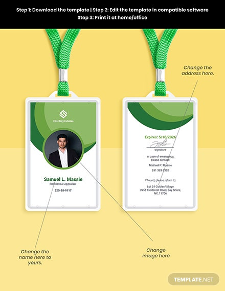 Corporate Real Estate ID Card Template Format