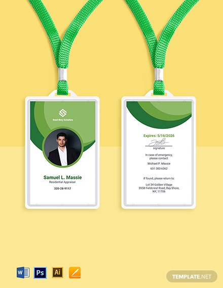 Corporate Real Estate ID Card Template