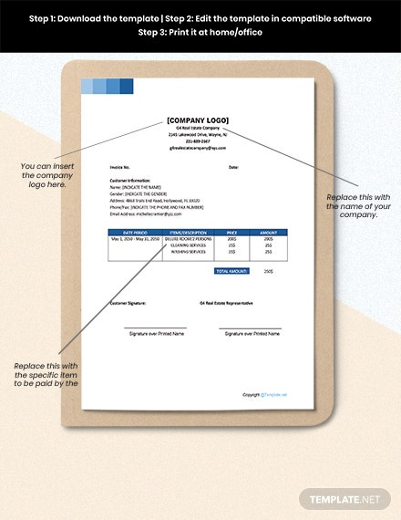 Free Sample Real Estate Invoice Sample