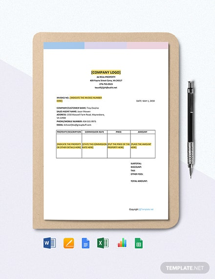 Free Simple Real Estate Invoice Template