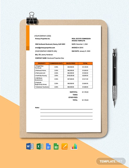 Real Estate Agent Commission Invoice Format