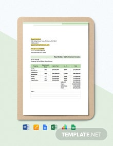 Real Estate Commission Invoice Template