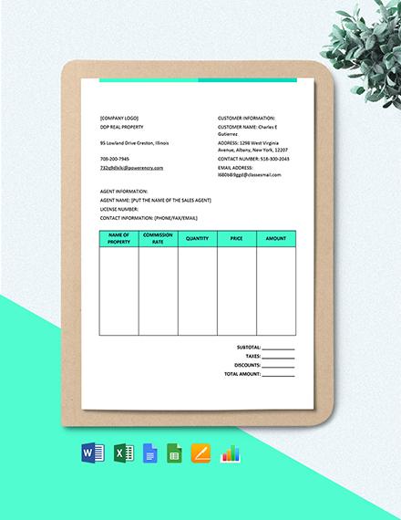 Real Estate Brokerage Commission Invoice Invoice Format