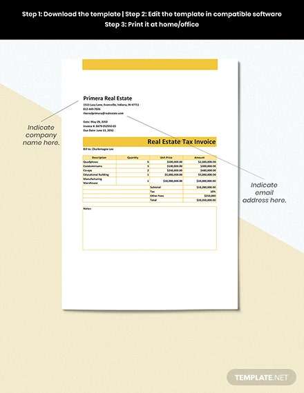 Real Estate Tax Invoice Format