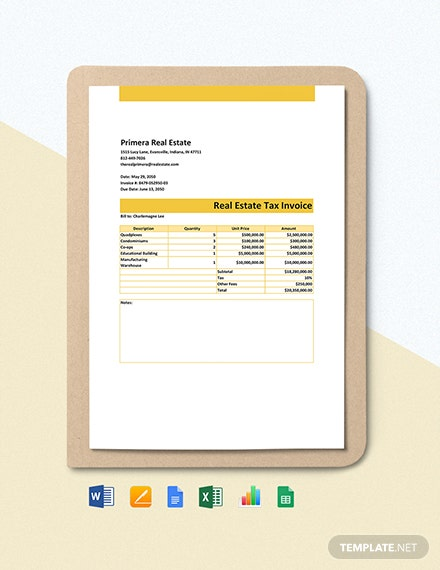 Real Estate Tax Invoice Template