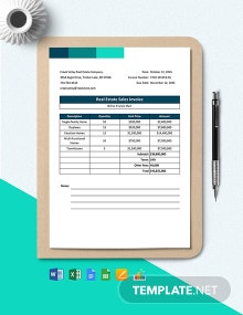 Real Estate Sales Invoice Template