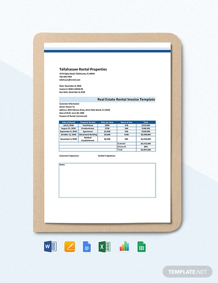 Real Estate Rental Invoice Template