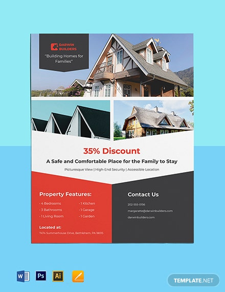 Real Estate Property Flyer Template  - Illustrator, Word, Apple Pages, PSD
