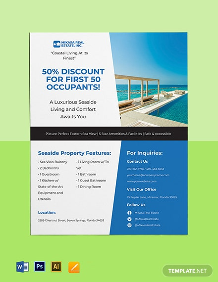 Seaside Real Estate Flyer Template