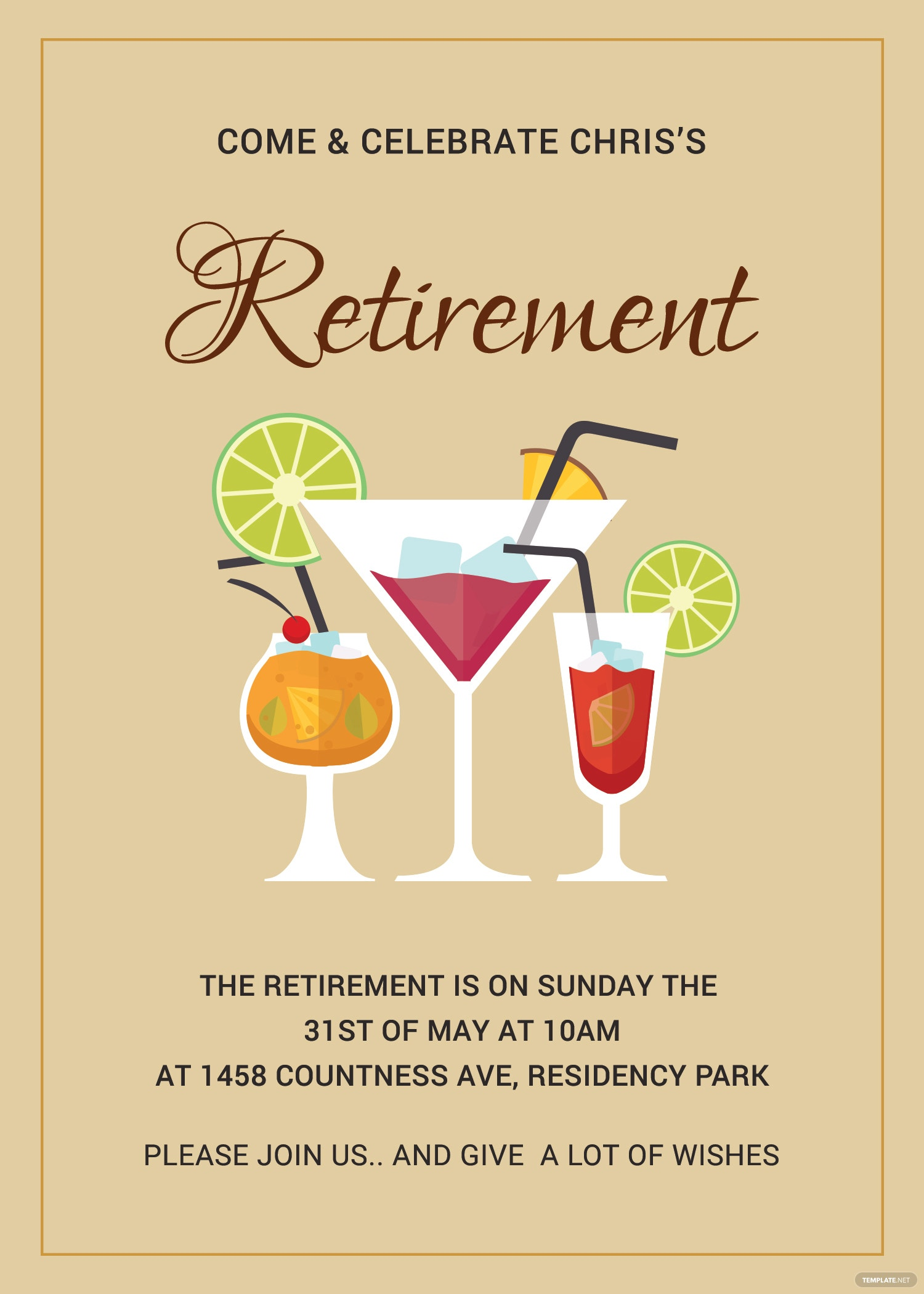 Printable Retirement Party Invitation Template in Adobe Photoshop ...