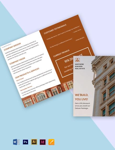 Free Bi-Fold Landscape Real Estate Brochure Template