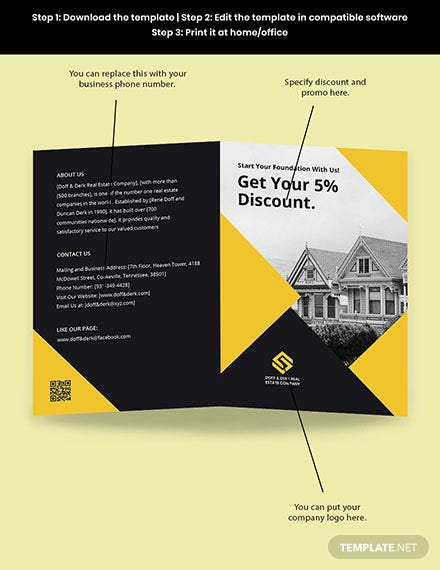 Bifold Real Estate Home Hunting Brochure Template Sample