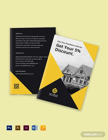 Bi-Fold Real Estate Home Hunting Brochure Template