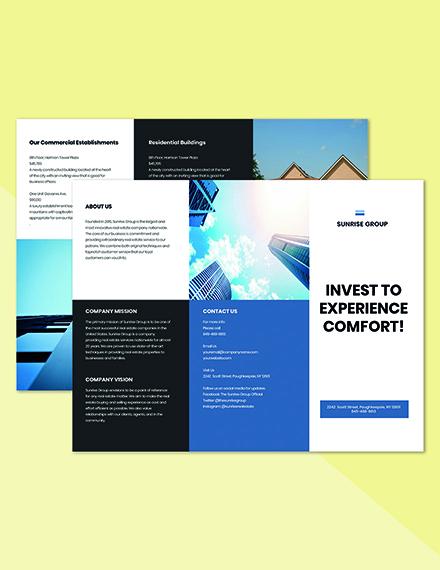 Free Trifod Minimalist Real Estate Brochure Printable