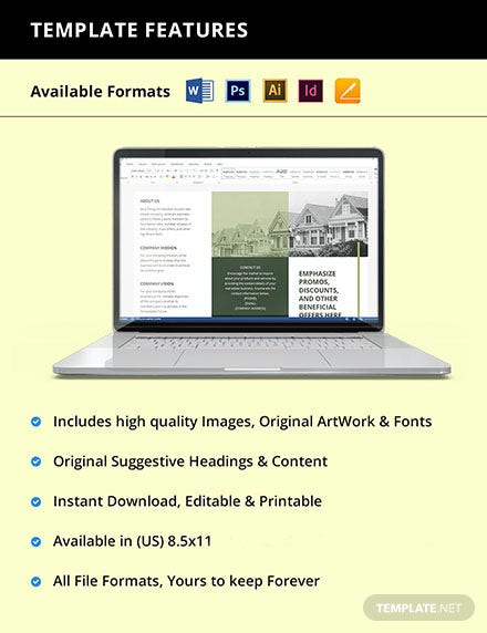 Free Trifold Landscape Real Estate Brochure Template Instruction