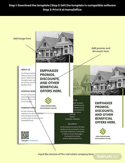 Free Trifold Landscape Real Estate Brochure Template Sample