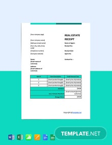 Free Sample Real Estate Receipt Template