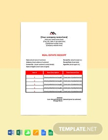 Free Blank Real Estate Receipt Template