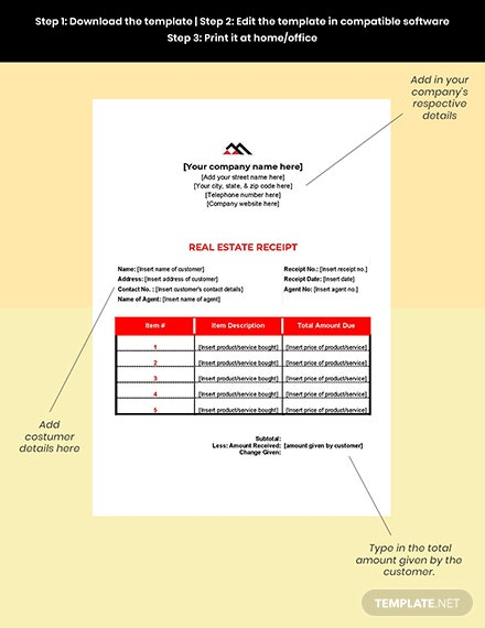 Free Blank Real Estate Receipt editable