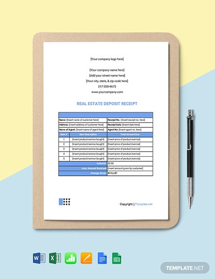Free Simple Real Estate Receipt Template