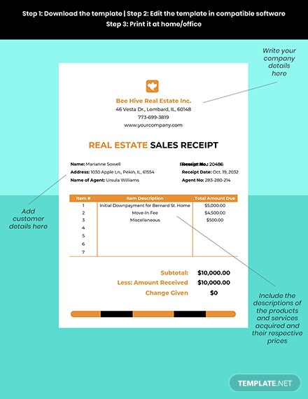 Real Estate Sales Receipt Template Format