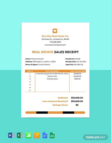 Real Estate Sales Receipt Template