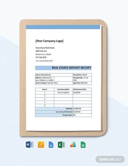 Real Estate Deposit Receipt Template