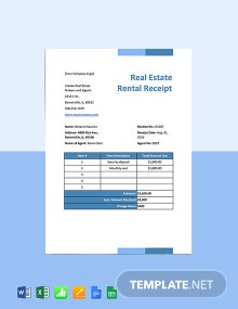 Real Estate Rental Receipt Template