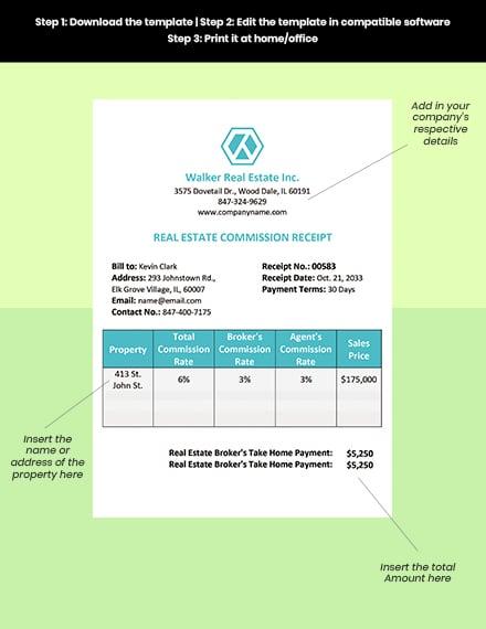 Real Estate Commission Receipt Sample