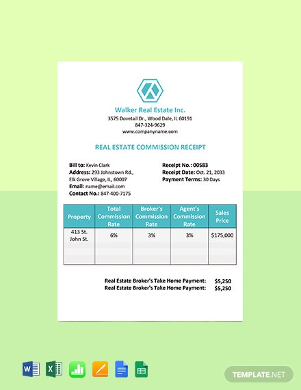 Real Estate Commission Receipt Template