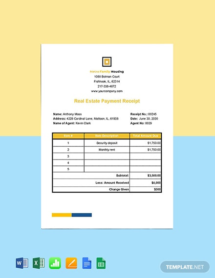 Real Estate Payment Receipt Template